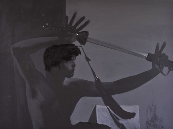 Bojovník se šavlíI.,120x160, olej, plátno, 2009